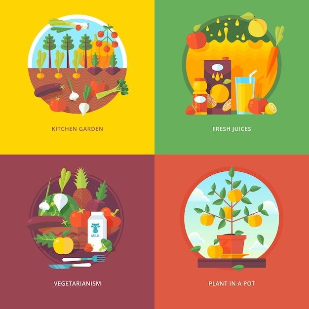 Набор плоских концепций иллюстрации для огорода, свежих соков, вегетарианства и растений в горшке. садоводство и овощеводство. концепции веб-баннеров и рекламных материалов. Premium векторы