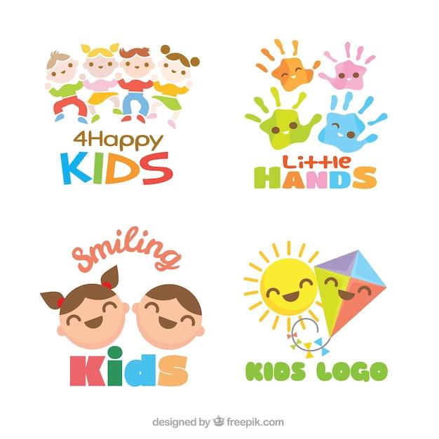 set of flat kids logos vector free download