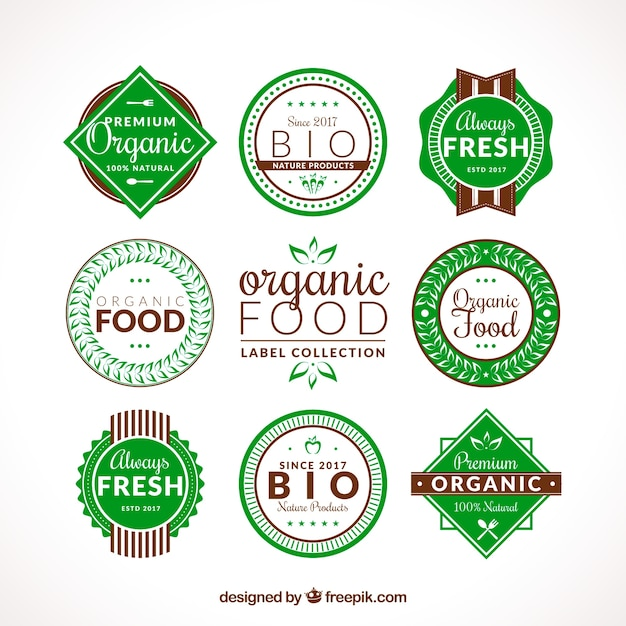 Set of flat organic food labels with brown\ details
