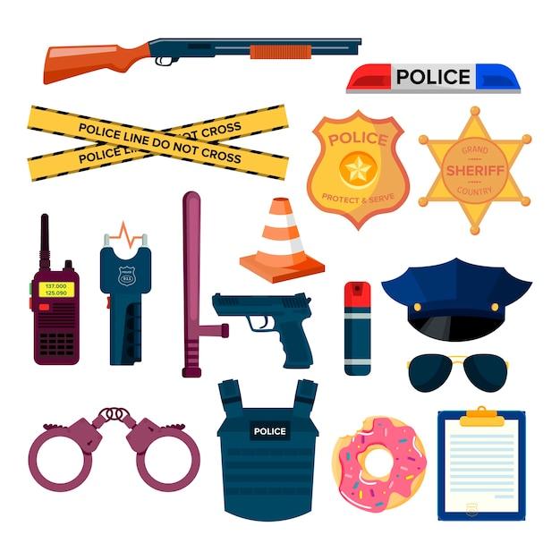 Набор плоских полицейских элементов Бесплатные векторы