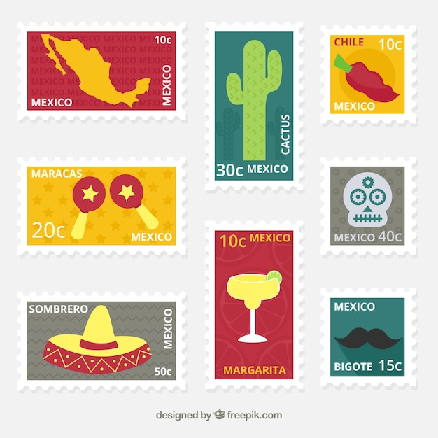 Set of flat post stamps with decorative mexican elements Free Vector