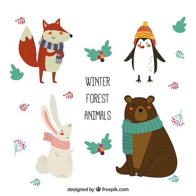 Set of flat winter animals