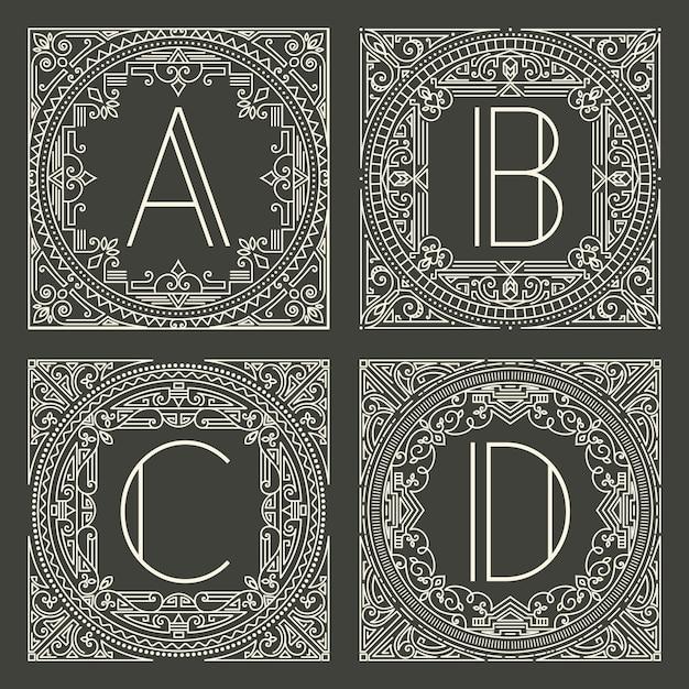 暗い灰色の背景に大文字で花と幾何学的なモノグラムのロゴのセットです。 無料ベクター