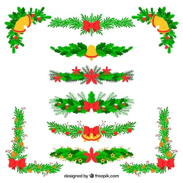 Set of floral christmas garlands vector free download for Weihnachtsgirlanden bilder kostenlos