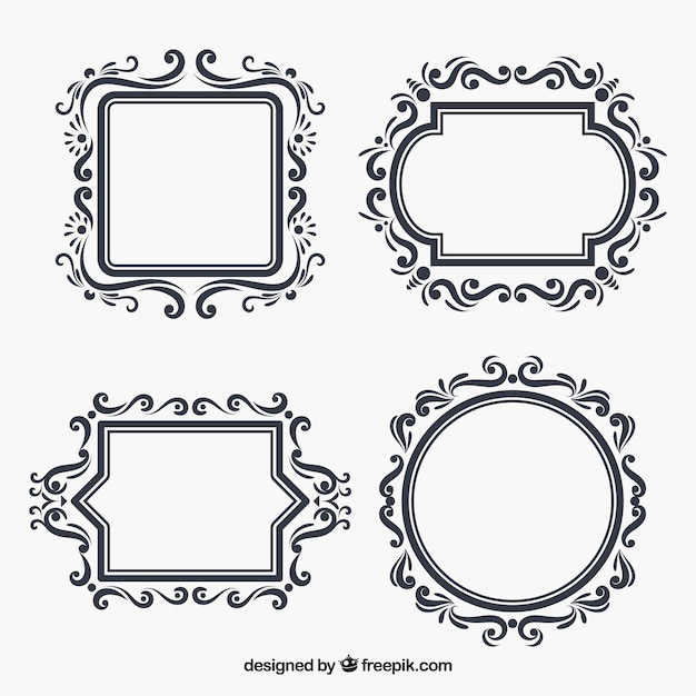 Set of floral frames in flat style Free Vector