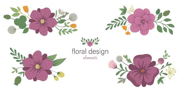 Набор цветочных горизонтальных декоративных элементов. плоские модные иллюстрации с цветами, листьями, ветвями. Premium векторы