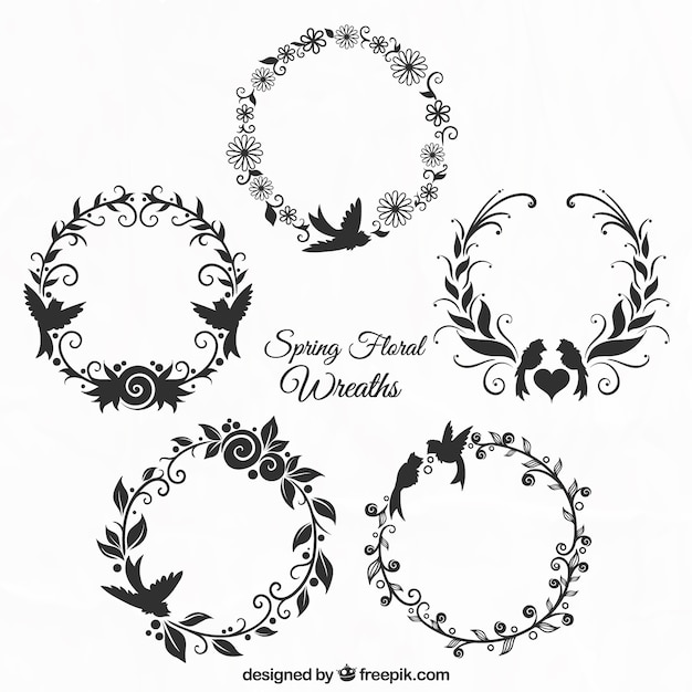 Set of floral ornamental wreaths Free Vector