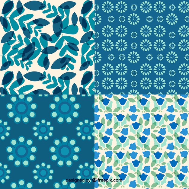 Set of floral patterns Free Vector