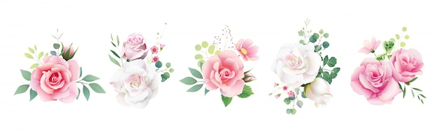 結婚式招待状やグリーティングカードのための花バラの花束のセットです。 Premiumベクター