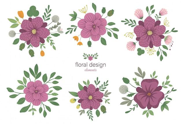 Набор цветочных круглых декоративных элементов. плоские модные иллюстрации с цветами, листьями, ветвями. Premium векторы