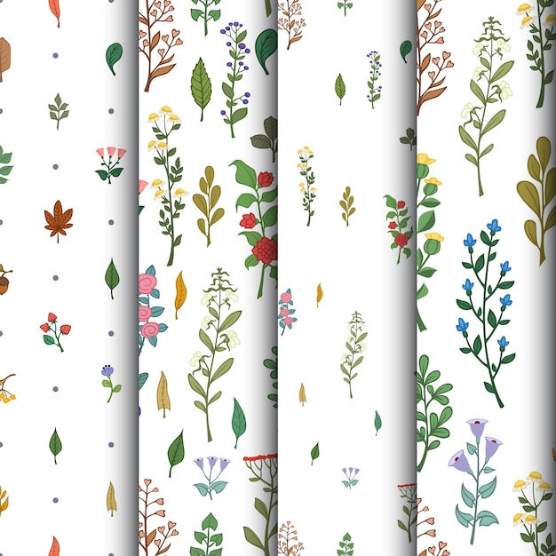 Set of floral seamless patterns  Free Vector