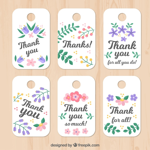 Set of floral thank you tags