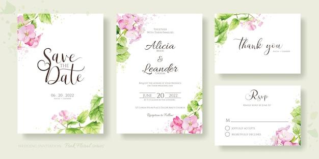 花の結婚式の招待カードのセット、日付を保存、ありがとう、rsvpテンプレート。アジサイ、ピンクの花、緑。水彩風。 Premiumベクター