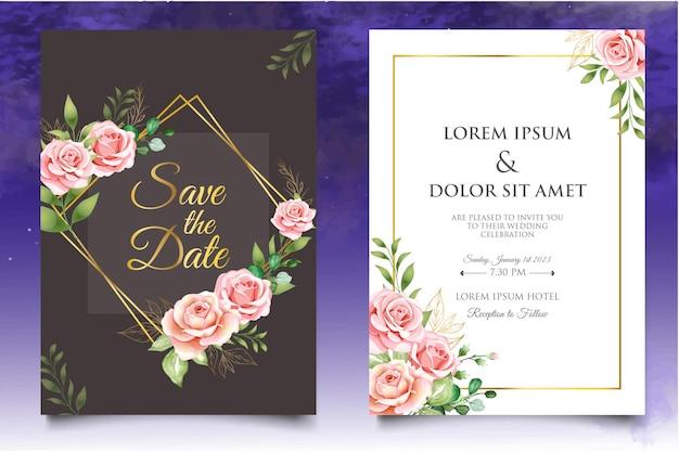 Набор цветочных шаблонов свадебного приглашения с красивыми цветами и листьями Premium векторы