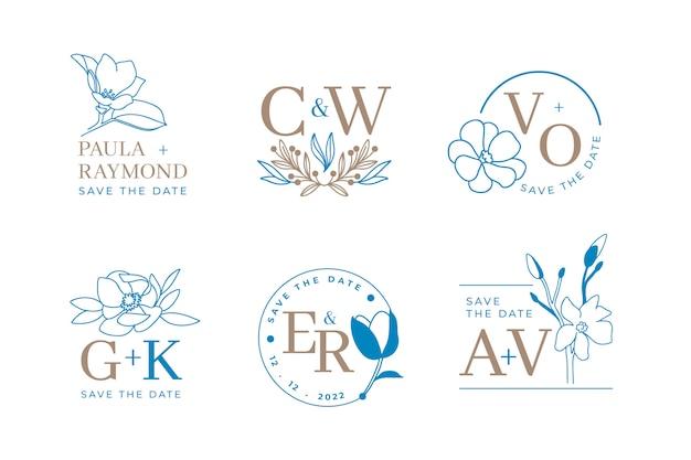 花の結婚式のロゴと招待状のエレガントな葉を持つモノグラムのセットは、日付カードのデザインを保存します。植物イラスト Premiumベクター