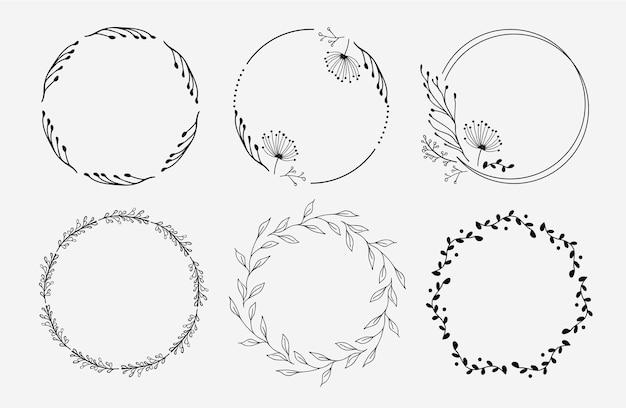 花の花輪のセット。花の輪。ロゴデザイン。 Premiumベクター