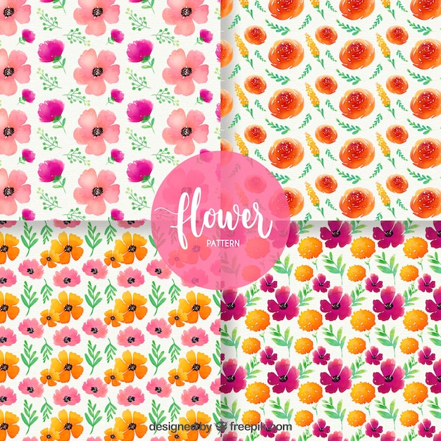 Set of flower patterns in watercolor\ style