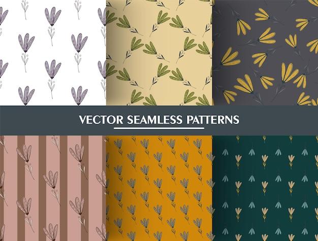 Набор цветов ботанический орнамент бесшовные модели. коллекция милые цветы шаблон. Premium векторы
