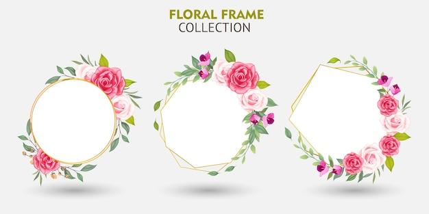 花フレームコレクションのセット Premiumベクター