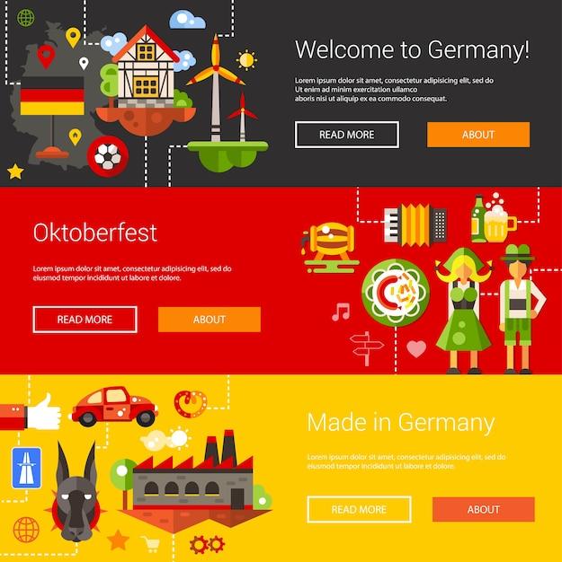 チラシとドイツ旅行、観光のアイコンとインフォグラフィックの要素を持つヘッダーのセット Premiumベクター
