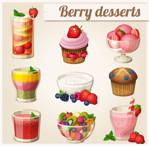 Набор продуктов питания. ягодные десерты Premium векторы