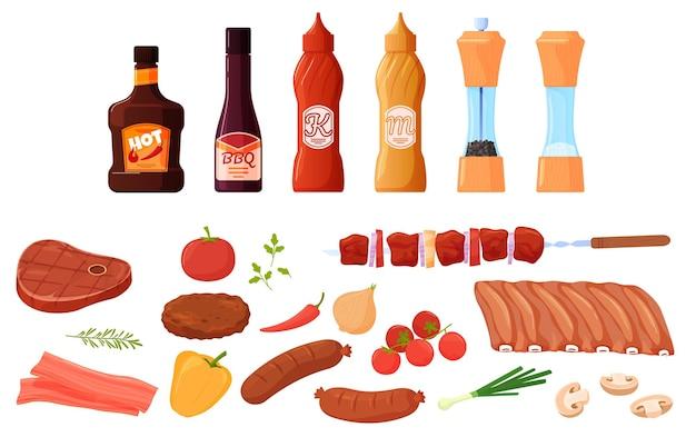 바베큐, 그릴 음식 세트. 고기와 야채, 스테이크, 갈비, 소시지. 소스, 양념, 케첩, 겨자. 플랫 만화 스타일의 다채로운 그림입니다. 프리미엄 벡터