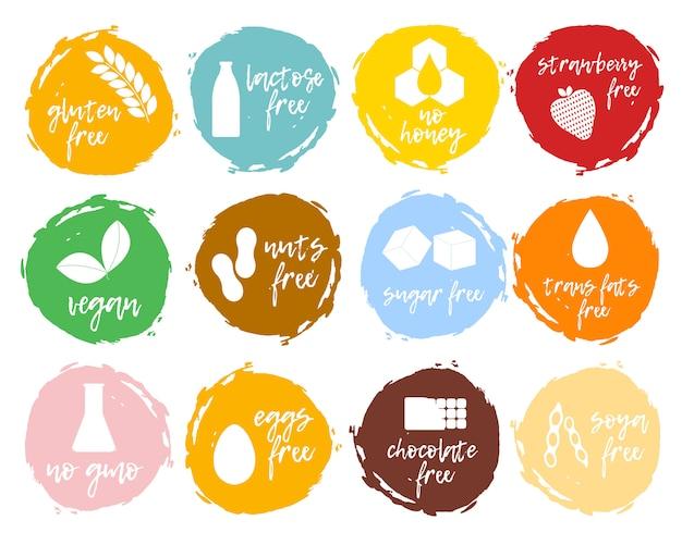 Набор пищевых этикеток - аллергены, продукты без гмо. пищевая непереносимость символов коллекции. Premium векторы