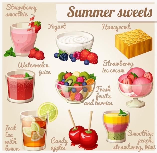 Набор продуктов питания. летние сладости Premium векторы