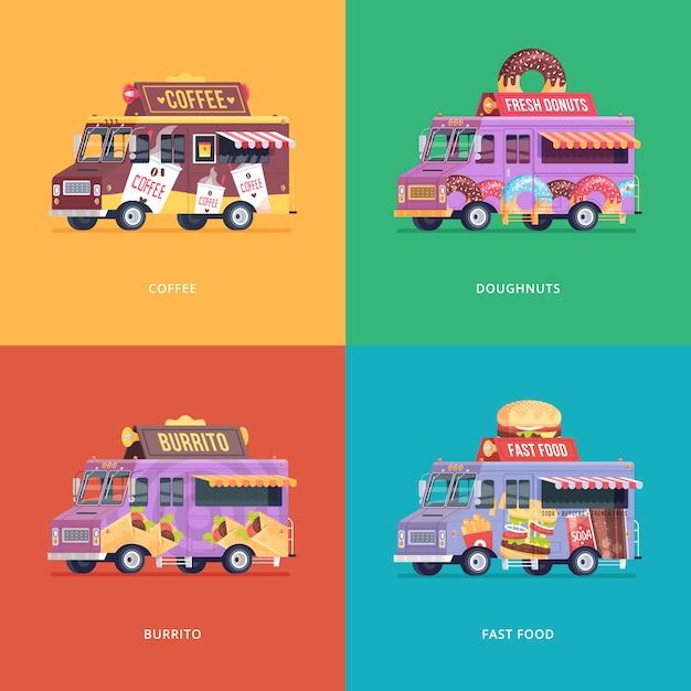 フードトラックのイラストのセットです。コーヒー、ドーナツ、ブリトー、ファーストフードデリバリーワゴンのモダンコンセプトの作品。 Premiumベクター