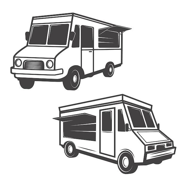 白い背景の上のフードトラックのセットです。ロゴ、ラベル、エンブレム、記号、ブランドマークの要素。 Premiumベクター