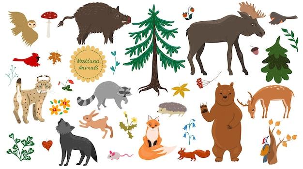 白い背景で隔離の森の動物、鳥、植物のセットです。 Premiumベクター