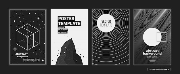 Set of four abstract backgrounds posters in black and white style premium vector