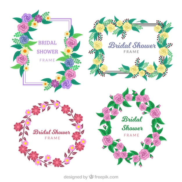 set of four bridal shower frames with fantastic flowers free vector