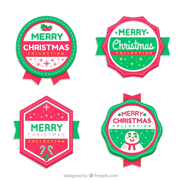 Set of four christmas badges in flat design