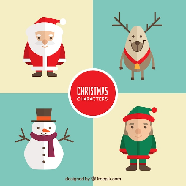 Set of four christmas characters in flat design Free Vector