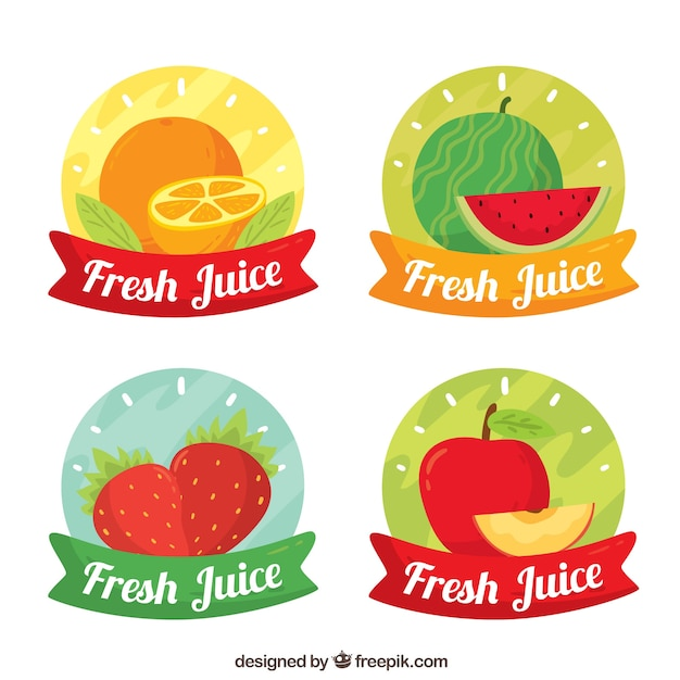 Set of four colored stickers with different fruits