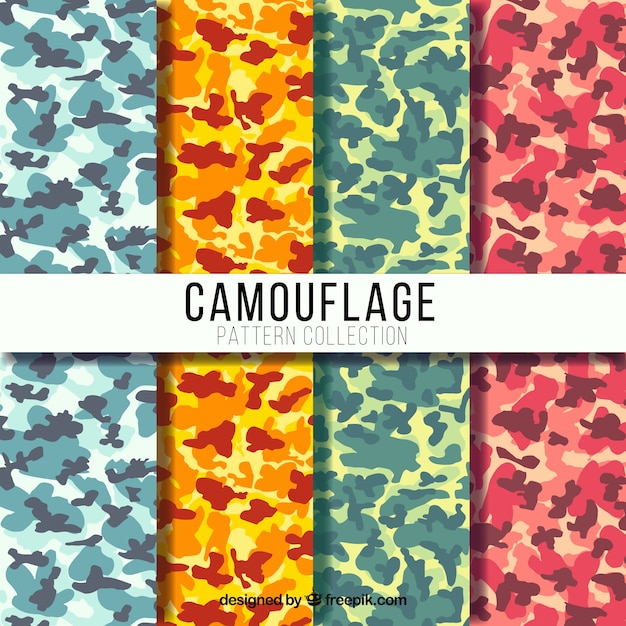 Set of four colorful camouflage patterns Free Vector