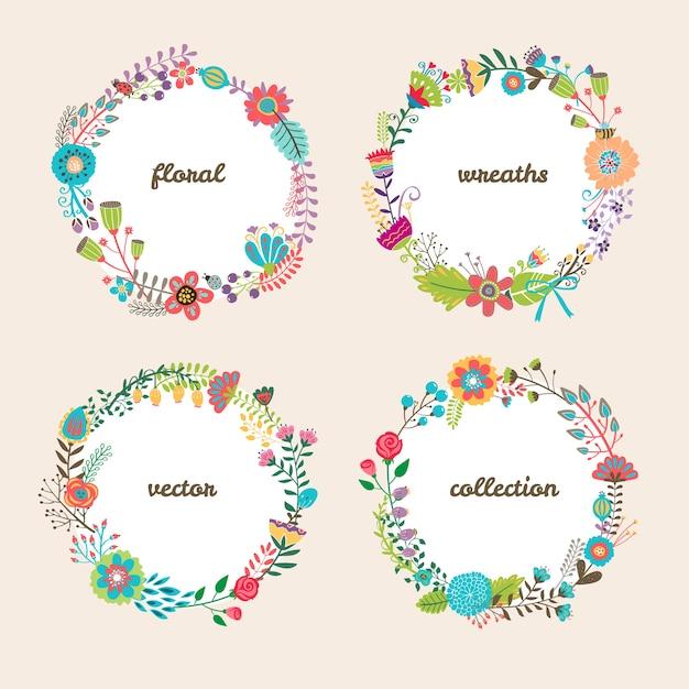 여름 꽃과 텍스트 중앙 흰색 copyspace와 4 개의 다채로운 원형 벡터 꽃 화환 세트 무료 벡터