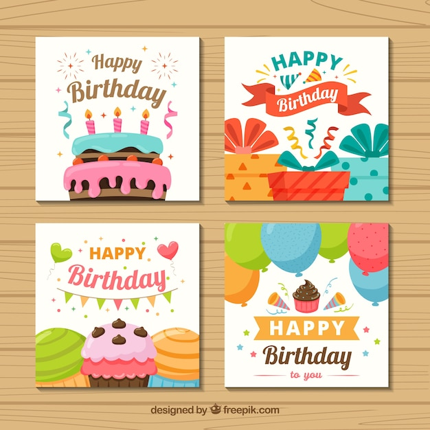 Set of four colourful birthday cards in flat design Free Vector
