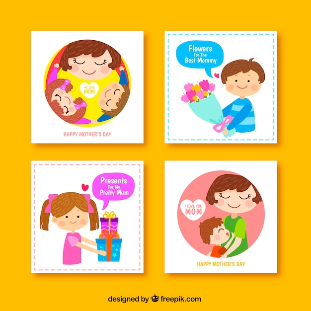Set of four cute greeting cards for mothers day vector free download set of four cute greeting cards for mothers day free vector m4hsunfo