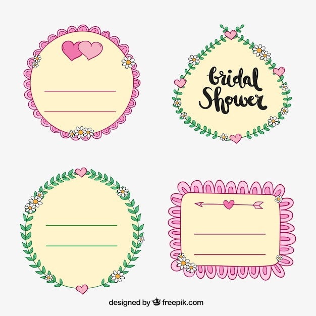set of four decorative bridal shower stickers free vector