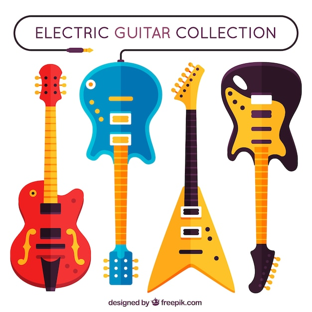 Set of four electric guitars in flat design Vector | Free ...