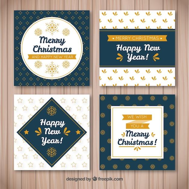 Set of four elegant retro christmas cards