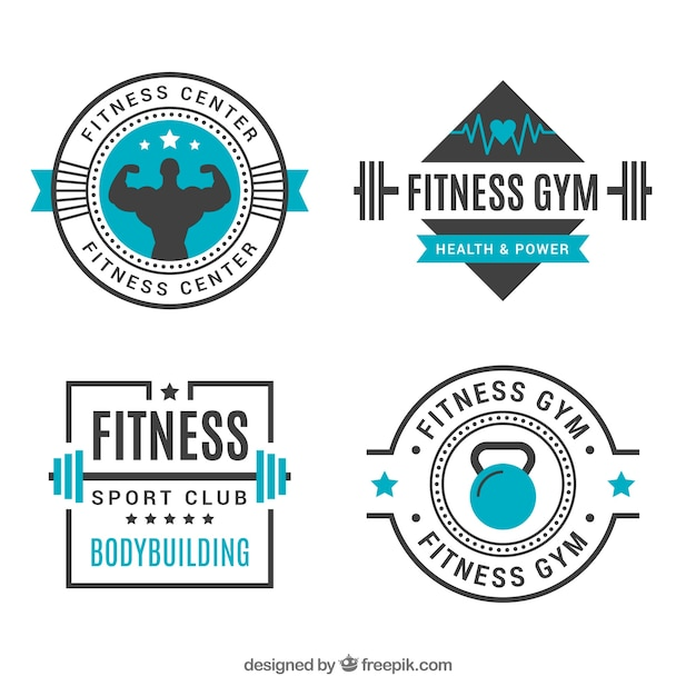 Set of four fitness badges