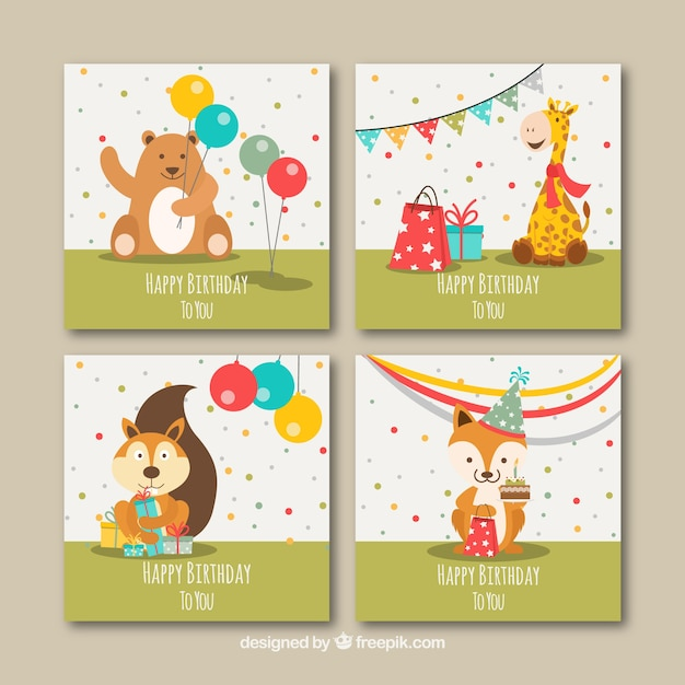 Set Of Four Flat Birthday Cards With Animals Vector Free Download