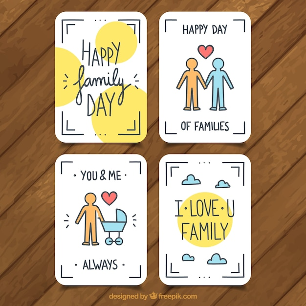 Set of four flat greeting cards for family day vector free download set of four flat greeting cards for family day free vector m4hsunfo