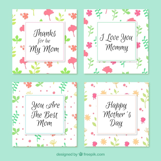 Download vector set of four floral greeting cards for mothers day set of four floral greeting cards for mothers day m4hsunfo