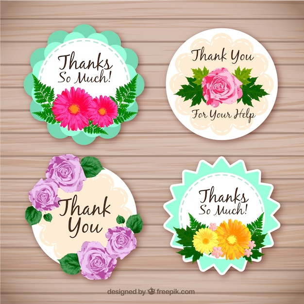 Set of four floral thank you stickers