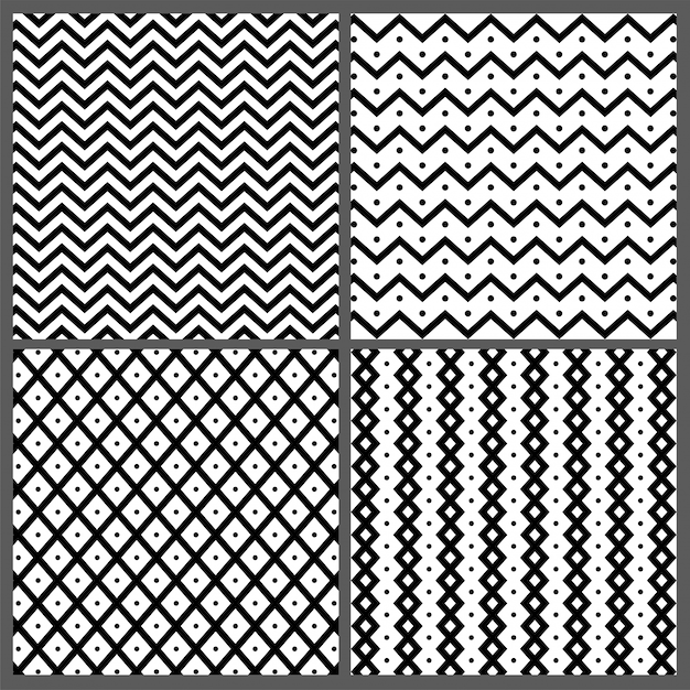 Set of four hand drawn abstract seamless patterns with zigzag, wavy stripes and lines textures.  Free Vector