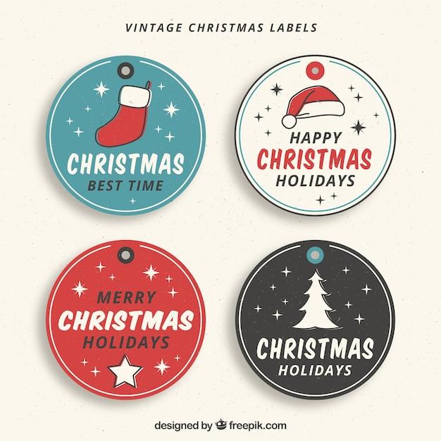 4 개의 손으로 그린 크리스마스 스티커 세트 무료 벡터